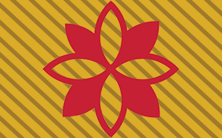 Red flower on gold background