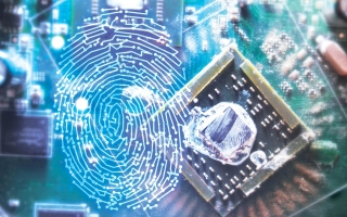 Photo illustration of computer chip and fingerprint