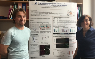 Adam Bercz stands with his principal investigator, Dr. Nathalie Sauvonnet, after preparing his poster