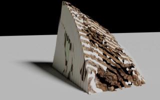 White and brown triangular block