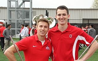 photo of John LaVange and Konner Barr after 2017 drum major tryouts