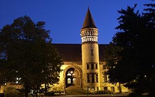 Orton Hall at dusk