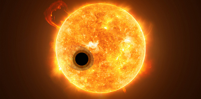 Artist's rendering of WASP-107b, a gas giant, orbiting a highly active K-type star about 200 light-years from Earth.