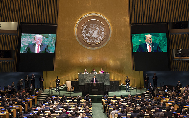 President Trump giving a speech at the United Nations