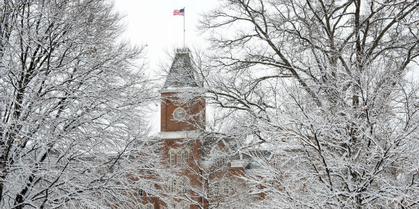 University Hall in snow