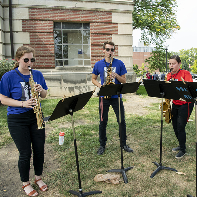 School of Music students perform at the Modern Head dedication Sept. 11