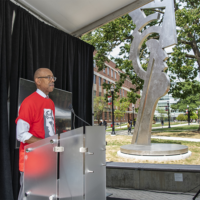 Ohio State President Drake at the Modern Head dedication Sept. 11