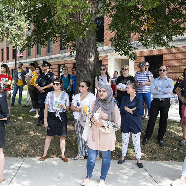 Dozens of students, faculty and staff lined the area between Smith and McPherson laboratories to learn more about the sculpture and the artist.