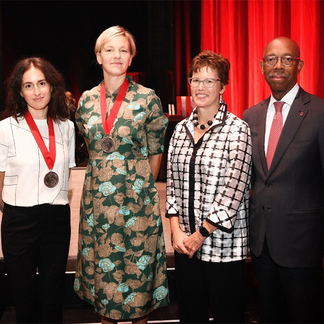 From left: Roy Lichtenstein Endowed Chair of Studio Art Carmen Winant, Roy Lichtenstein Endowed Chair of Art History Jody Patterson, Arts and Sciences Executive Dean and Vice Provost Gretchen Ritter and Ohio State President Michael V. Drake.
